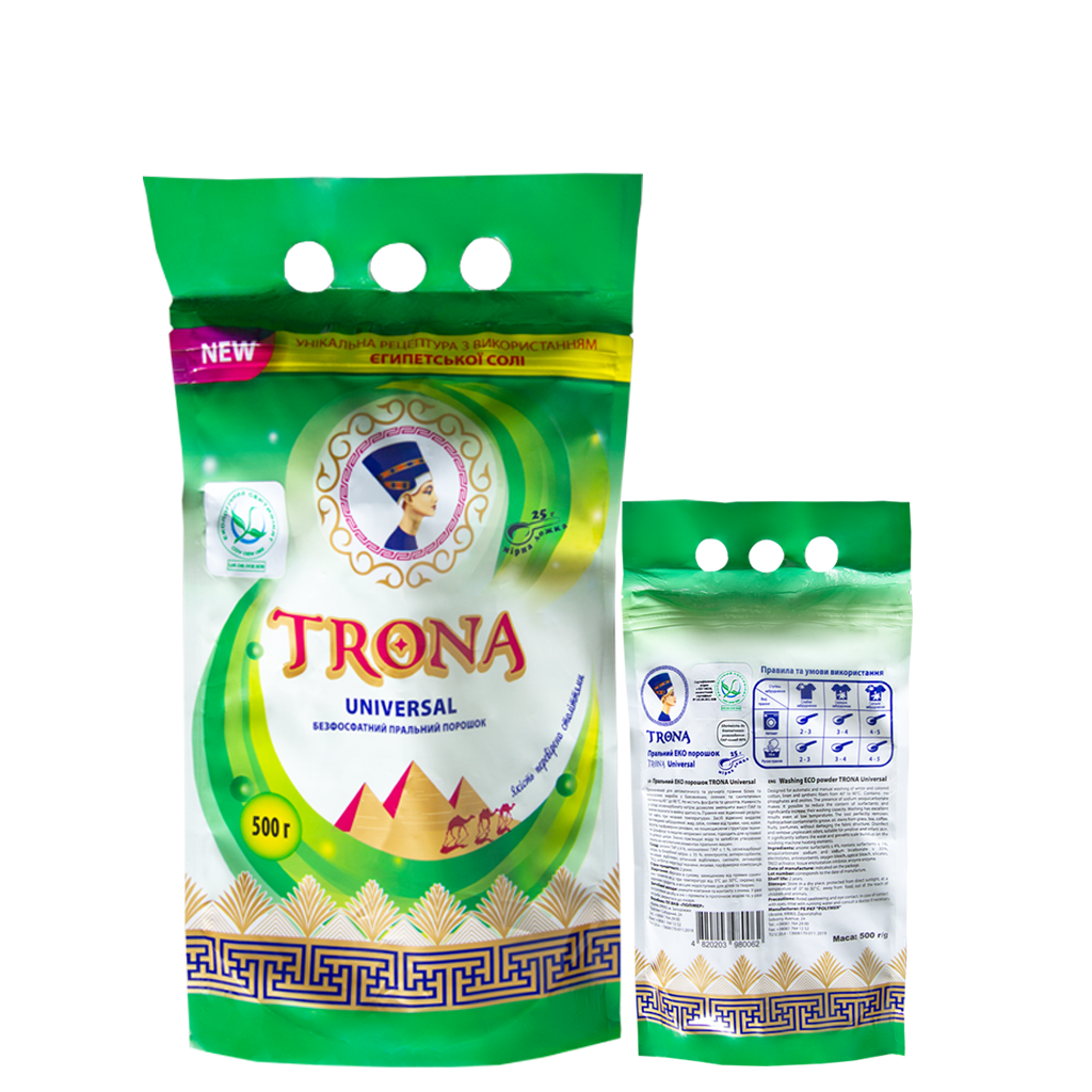Trona Waschpulver Universal 0,5kg - phosphatfreies Waschpulver für weiße und farbige Wäsche Polymer Ukrajina