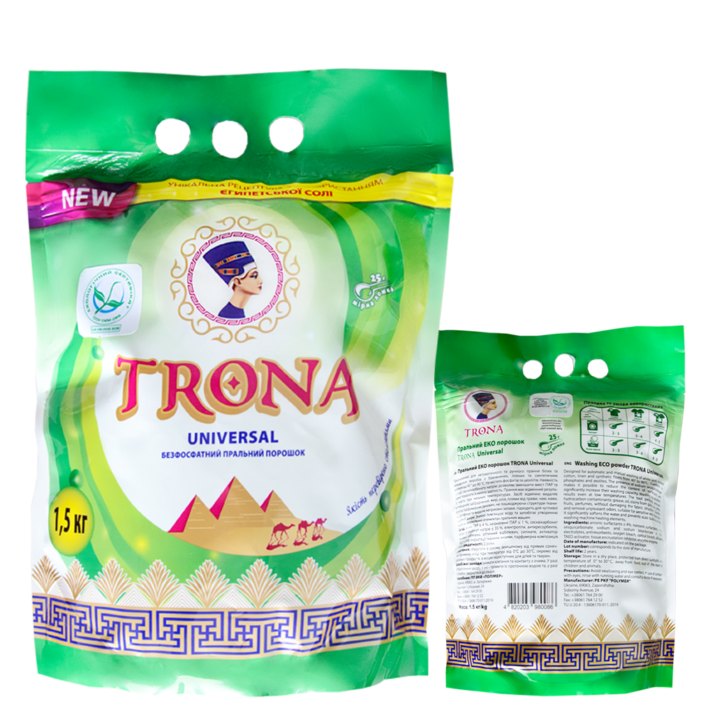 Trona Waschpulver Universal 1,5kg - phosphatfreies Waschpulver für weiße und farbige Wäsche Polymer Ukrajina
